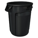 Rubbermaid 1867531 Round Brute Container, Executive Series, Plastic, 32 gal, Black, 6/Carton