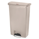 Rubbermaid 1883460 Slim Jim Resin Step-On Container, Front Step Style, 18 gal, Beige