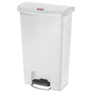 Rubbermaid 1883557 Slim Jim Resin Step-On Container, Front Step Style, 13 gal, White