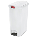 Rubbermaid 1883558 Slim Jim Resin Step-On Container, End Step Style, 13 gal, White