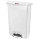 Rubbermaid 1883561 Slim Jim Resin Step-On Container, Front Step Style, 24 gal, White