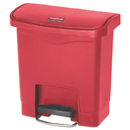 Rubbermaid 1883563 Slim Jim Resin Step-On Container, Front Step Style, 4 gal, Red