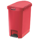 Rubbermaid 1883565 Slim Jim Resin Step-On Container, End Step Style, 8 gal, Red