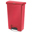 Rubbermaid 1883566 Slim Jim Resin Step-On Container, Front Step Style, 13 gal, Red