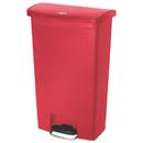 Rubbermaid 1883568 Slim Jim Resin Step-On Container, Front Step Style, 18 gal, Red
