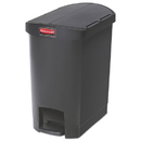 Rubbermaid 1883610 Slim Jim Resin Step-On Container, End Step Style, 8 gal, Black