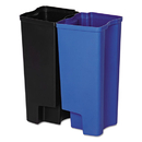Rubbermaid 1902007 Step-On Rigid Dual Liner For Stainless End Step, Plastic, 8 gal, Black/Blue