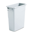 Rubbermaid 1971258 Slim Jim Waste Container w/Handles, Rectangular, Plastic, 15.875gal, Light Gray