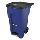 Rubbermaid 1971970 Brute Step-On Rollouts, Square, 65 gal, Blue