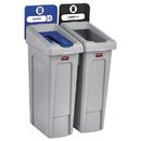 Rubbermaid 2007915 Slim Jim Recycling Station Kit, 46 gal, 2-Stream Landfill/Paper