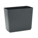 Rubbermaid FG25051 Designer 2 Wastebasket, Rectangular, Plastic, 6.5gal, Black, 6/Carton