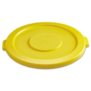 Rubbermaid RCP2631YEL Round Flat Top Lid, For 32-Gallon Round Brute Containers, 22 1/4