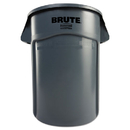 Rubbermaid RCP264360GY Brute Vented Trash Receptacle, Round, 44 Gal, Gray