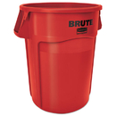 Rubbermaid FG264360RED Brute Vented Trash Receptacle, Round, 44 gal, Red, 4/Carton