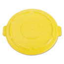 Rubbermaid FG264560YEL Vented Round Brute Flat Top Lid, 24 1/2 x 1 1/2, Yellow