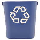 Rubbermaid RCP295573BE Small Deskside Recycling Container, Rectangular, Plastic, 13.625qt, Blue