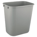 Rubbermaid RCP2955GRA Deskside Plastic Wastebasket, Rectangular, 3 1/2 Gal, Gray