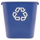 Rubbermaid RCP295673BE Medium Deskside Recycling Container, Rectangular, Plastic, 28.125qt, Blue