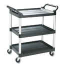 Rubbermaid RCP342488BLA Economy Plastic Cart, Three-Shelf, 18-5/8w X 33-5/8d X 37-3/4h, Black