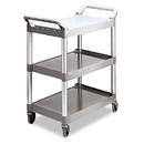 Rubbermaid RCP342488PM Economy Plastic Cart, Three-Shelf, 18-5/8w X 33-5/8d X 37-3/4h, Platinum