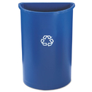 Rubbermaid FG352073BLUE Half-Round Recycling Container, Plastic, 21 gal, Blue