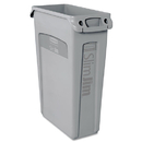 Rubbermaid RCP354060GY Slim Jim Receptacle W/venting Channels, Rectangular, Plastic, 23gal, Gray