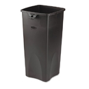 Rubbermaid RCP356988BK Untouchable Waste Container, Square, Plastic, 23gal, Black