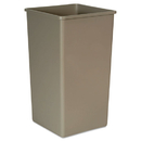 Rubbermaid FG395900BEIG Untouchable Square Waste Receptacle, Plastic, 50gal, Beige