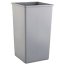 Rubbermaid RCP3959GRA Untouchable Waste Container, Square, Plastic, 50gal, Gray