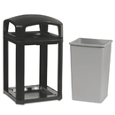 Rubbermaid FG397001SBLE Landmark Series Classic Dome Top Container w/Ashtray, Plastic, 35 gal, Sable