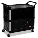 Rubbermaid RCP4095BLA Xtra Equipment Cart, 300-Lb Cap, Three-Shelf, 20-3/4w X 40-5/8d X 37-4/5h, Black