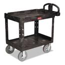 Rubbermaid FG452010BLA Heavy-Duty Utility Cart, Two-Shelf, 25-7/8w x 45-1/4d x 37-1/8h, Black