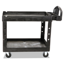 Rubbermaid RCP452088BK Heavy-Duty Utility Cart, Two-Shelf, 25-1/4w X 44d X 39h, Black