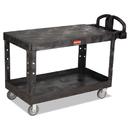 Rubbermaid FG454500BLA Heavy-Duty 2-Shelf Utility Cart, TPR Casters, 25-1/4w x 54d x 36h, Black