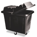 Rubbermaid RCP461200BLA Metal Frame Cube Truck, Rectangular, Polyethylene, 400lb Cap, 12 Cu. Ft., Black