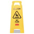 Rubbermaid FG611277YEL Caution Wet Floor Floor Sign, Plastic, 11 x 12 x 25, Bright Yellow, 6/Carton