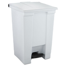 Rubbermaid RCP6144WHI Indoor Utility Step-On Waste Container, Square, Plastic, 12gal, White