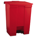 Rubbermaid RCP614500RED Indoor Utility Step-On Waste Container, Rectangular, Plastic, 18gal, Red