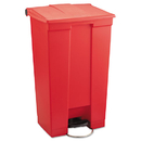Rubbermaid RCP6146RED Indoor Utility Step-On Waste Container, Rectangular, Plastic, 23gal, Red