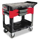 Rubbermaid FG618000BLA Trades Cart, Two-Shelf, 19-1/4w x 38d x 33-3/8h, Black