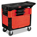Rubbermaid RCP618088BLA Locking Trades Cart, 330-Lb Cap, Two-Shelf, 19-1/4w X 38d X 33-3/8h, Black
