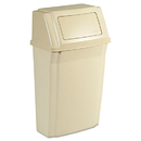Rubbermaid RCP7822BEI Slim Jim Wall-Mounted Container, Rectangular, Plastic, 15gal, Beige