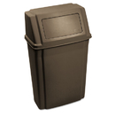Rubbermaid FG782200BRN Slim Jim Wall-Mounted Container, Rectangular, Plastic, 15 gal, Brown