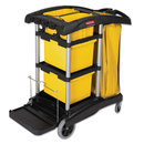 Rubbermaid RCP9T73 Hygen M-Fiber Healthcare Cleaning Cart, 22w X 48-1/4d X 44h, Black/yellow/silver