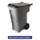 Rubbermaid RCP9W21GY Brute Rollout Heavy-Duty Waste Container, Square, Polyethylene, 65gal, Gray