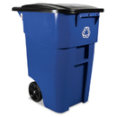 Rubbermaid RCP9W2773BLU Brute Recycling Rollout Container, Square, 50gal, Blue