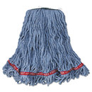 Rubbermaid RCPA11206 Web Foot Looped-End Wet Mop Head, Cotton/synthetic, Medium Size, Blue, 6/carton
