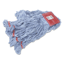 Rubbermaid FGA15306BL00 Web Foot Wet Mops, Cotton/Synthetic, Blue, Large, 5-in. Red Headband, 6/Carton