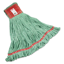 Rubbermaid FGA15306GR00 Web Foot Wet Mops, Cotton/Synthetic, Green, Large, 5-in. Red Headband, 6/Carton