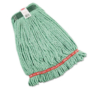 Rubbermaid FGA21206GR00 Web Foot Wet Mop Heads, Shrinkless, Cotton/Synthetic, Green, Medium